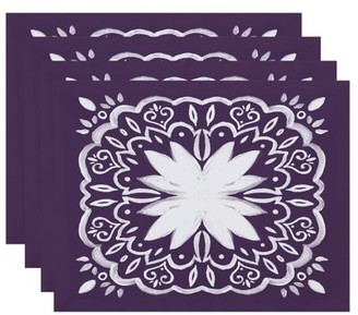 Simply Daisy, 18 x 14 inch, Cuban Tile 1, Geometric Print Placemat (Set of 4), Purple