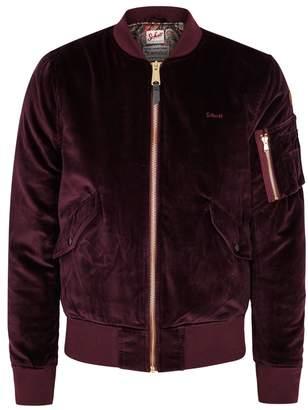 Schott NYC Burgundy Velvet Bomber Jacket