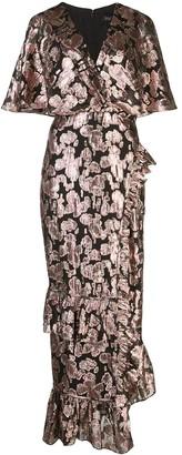 Saloni metallic rose brocade dress