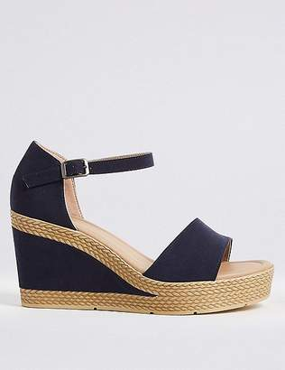 Marks and Spencer Wide Fit Wedge Heel Two Band Sandals