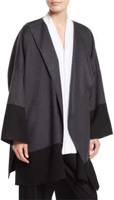 eskandar Draped-Front Colorblocked Cashmere Coat