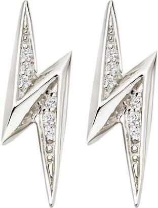 Astley Clarke Lightning Bolt sterling silver and white sapphire stud earrings