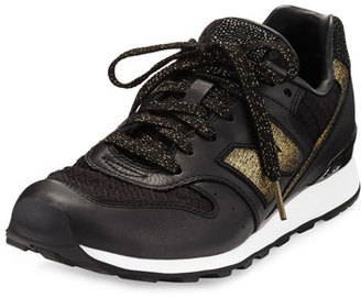 New Balance Embossed Leather Sneaker, Black/Gold $225 thestylecure.com