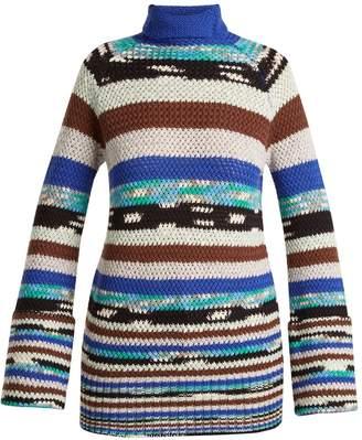 Missoni Roll-neck striped wool-blend knit sweater