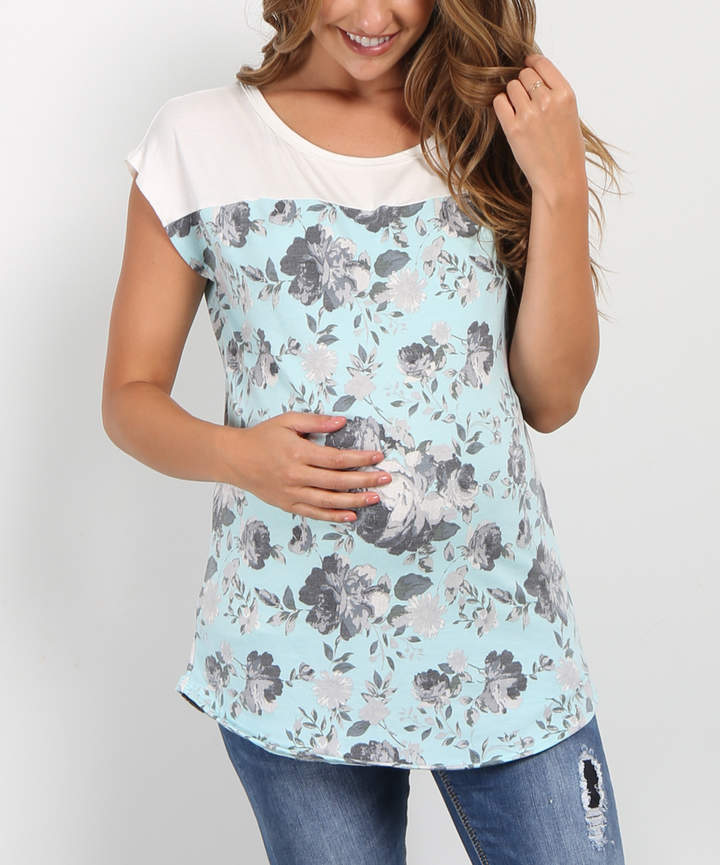 Mint Green Floral Color-Block Maternity Short-Sleeve Top