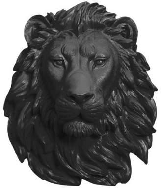 White Faux Taxidermy Faux Lion Head Wall Mount Sculpture