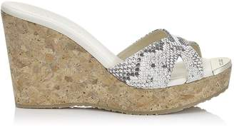 Jimmy Choo PANDORA Natural Printed Snake Wedge Sandals