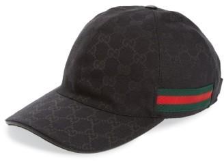 Men's Gucci Logo Print Baseball Cap - Black $320 thestylecure.com