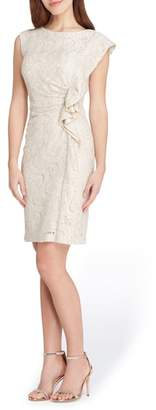 Tahari Ruffle Lace Sheath Dress