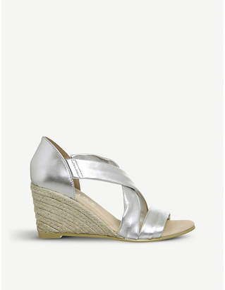 Office Maiden cross-strap metallic leather wedge sandals