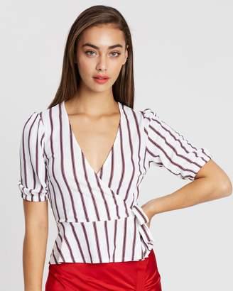 Miss Selfridge Striped Blouson Peplum Blouse