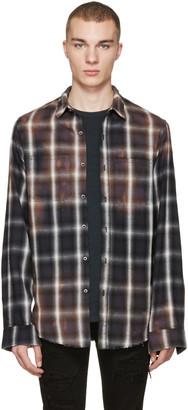 Amiri Black Spray Plaid Shirt $590 thestylecure.com