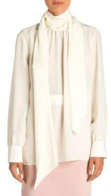Fendi Silk Crepe de Chine Scarf-Neck Blouse