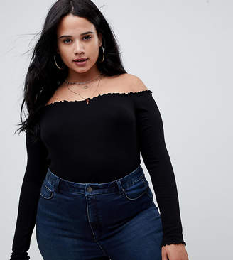 b9d5a8fa25 Asos DESIGN Curve off shoulder body with long sleeves and lettucing in black