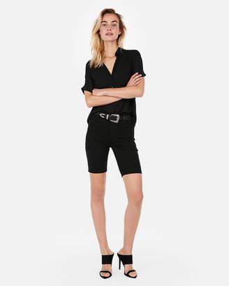 Express High Waisted Black Denim Biker Bermuda Shorts
