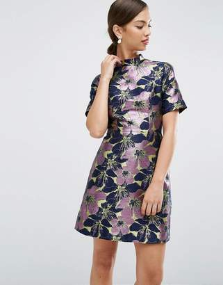 Asos Design High Neck Mini Dress in Floral Jacquard