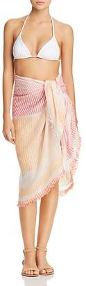 Echo Ocean Stripe Fringed Pareo Swim Cover-Up