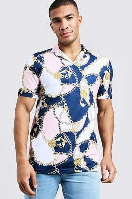 boohoo Muscle Fit Baroque Print Revere Collar Polo