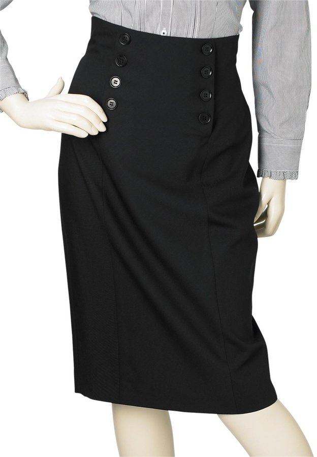 Black Marzotto High Waist Suit Skirt