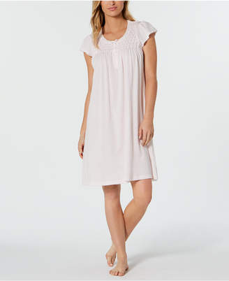 Miss Elaine Smocked Knit Nightgown