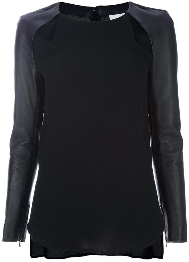 3.1 Phillip Lim Leather sleeve blouse