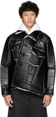 Comme des Garcons Black Synthetic Leather Padded Jacket