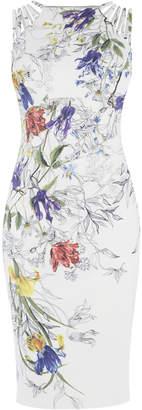 Karen Millen White & Floral Pencil Dress