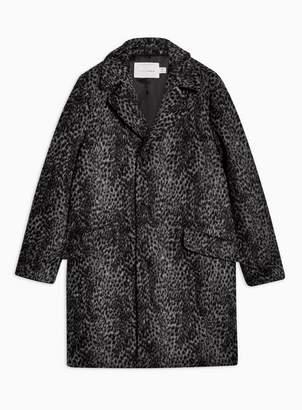 Topman Mens Black Grey Leopard Print Overcoat