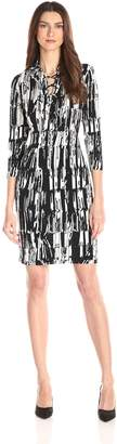 Calvin Klein Women's Long Sleeve Printed Dress with Lace Detail, Black/Cream