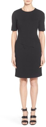 Women's Lafayette 148 New York Sash Detail Punto Milano Short Sleeve Sheath Dress $448 thestylecure.com