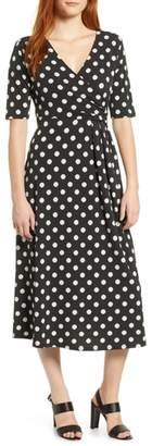 Chaus Double Dots Ruched Faux Wrap Dress
