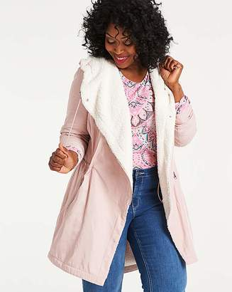 Fashion World Soft Pink Faux Shearling Lined Parka