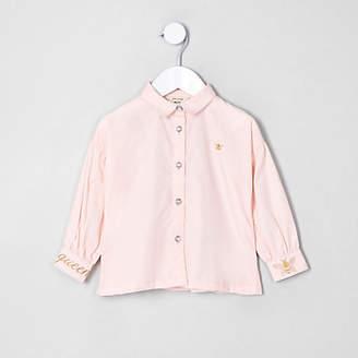 River Island Mini girls Pink poplin balloon sleeve shirt
