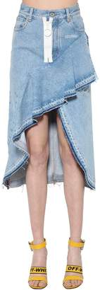 Off-White Asymmetrical Ruffled Cotton Denim Skirt