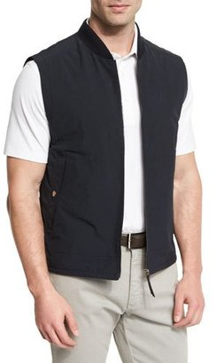 Ermenegildo Zegna Knit-Trim Vest w/ Leather Details, Navy $1,295 thestylecure.com
