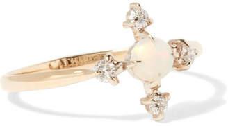 Catbird - Moon Flower 14-karat Gold, Diamond And Opal Ring