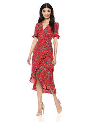 London Times Women's Short Sleeve Faux WRAP with Ruffled HI Low Hem Dress