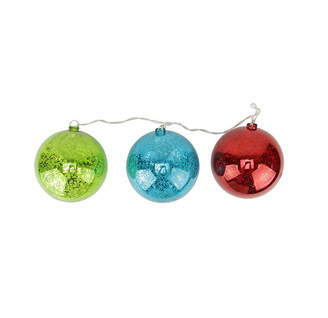 Asstd National Brand Set of 3 Lighted Multi-Color Mercury Glass Finish Ball Christmas Ornaments - Clear Lights