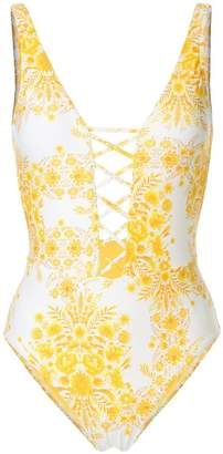 Seafolly sunflower lace up one piece swimsuit