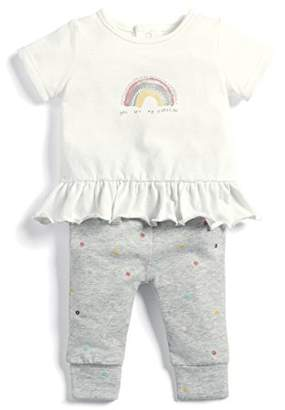 Mamas and Papas Baby Girls' 2pc Rainbow Tee & Legging Clothing Set, (Grey Slff)