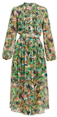 18566b8395e Saloni Raquel Printed Silk Crepe De Chine Midi Dress - Womens - Green Multi
