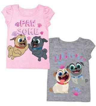 Puppy Pals Short Sleeve Raglan T-shirt & Short Puff Sleeve T-shirt, 2-pack