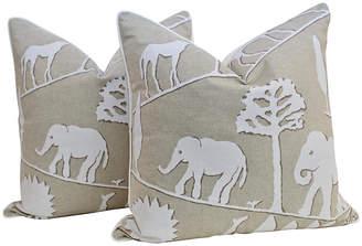 One Kings Lane Vintage Flax Linen Safari Pillows - Set of 2 - Ivy and Vine