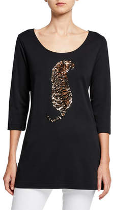 Joan Vass Petite Sequin Tiger Scoop-Neck 3/4-Sleeve Tunic