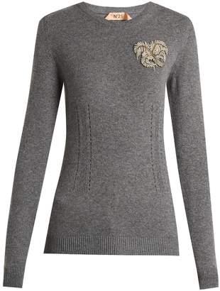 No.21 NO. 21 Crystal-appliqué cashmere knit sweater