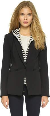 Veronica Beard Scuba Jacket with Stripe Sweater Dickey