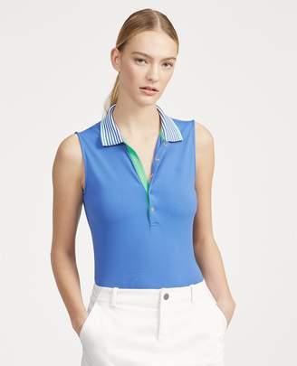 Ralph Lauren Striped-Collar Pique Golf Polo