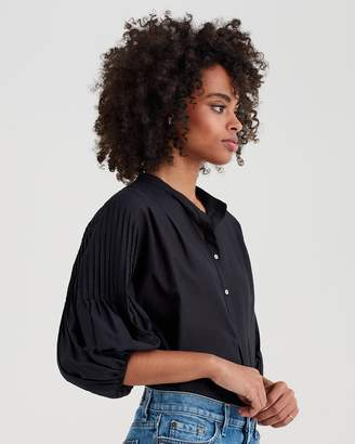 7 For All Mankind Blouson Pleated Top in Black
