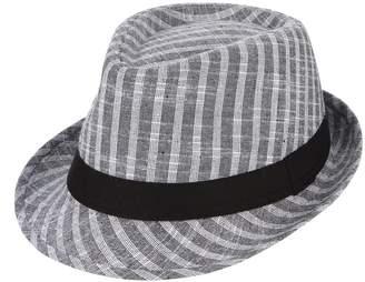 48c08f081b9 Gemvie Men s Summer Sun Hat Grid Fedora Hat Short Brim Beach Cap