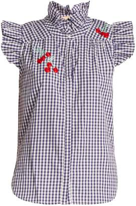 BLISS AND MISCHIEF Cherry-embroidered gingham cotton shirt
